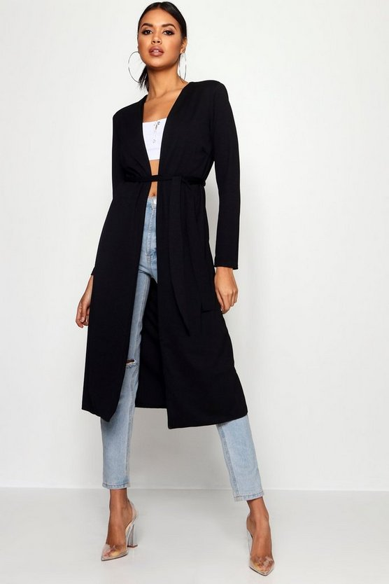 Ruched Waist Maxi Duster Jacket