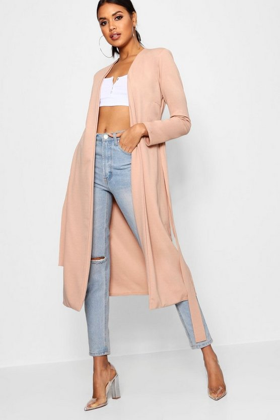 Womens Stone Ruched Waist Maxi Duster Jacket