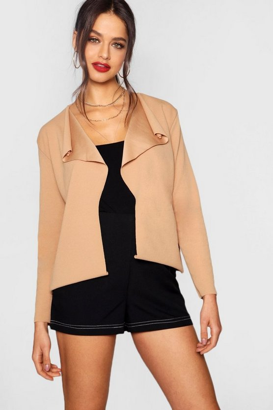 Crop Long Sleeve Waterfall Duster