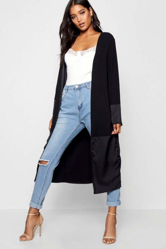 Collarless Split Back Satin Detail Duster