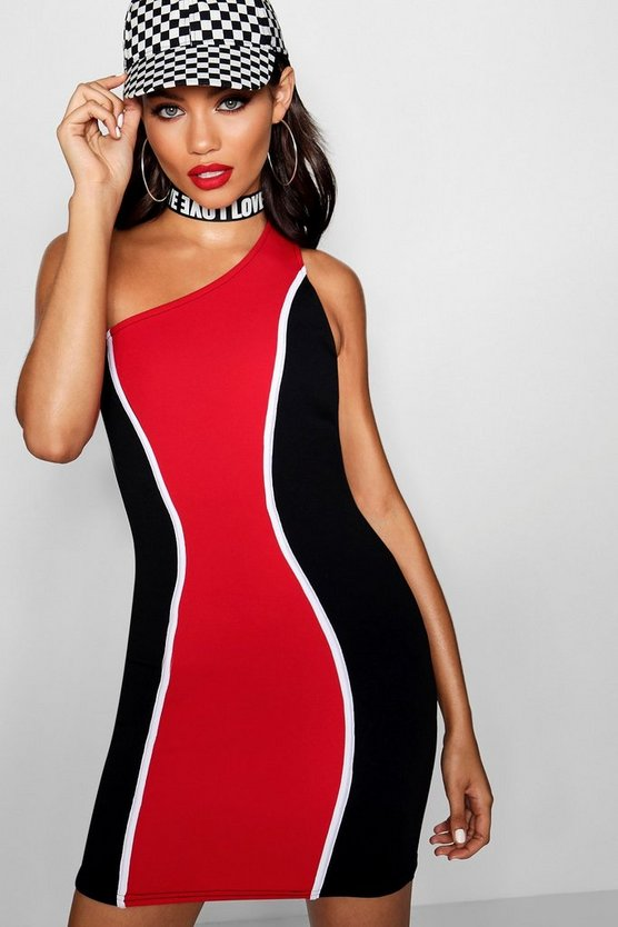 One Shoulder Contrast Mini Dress