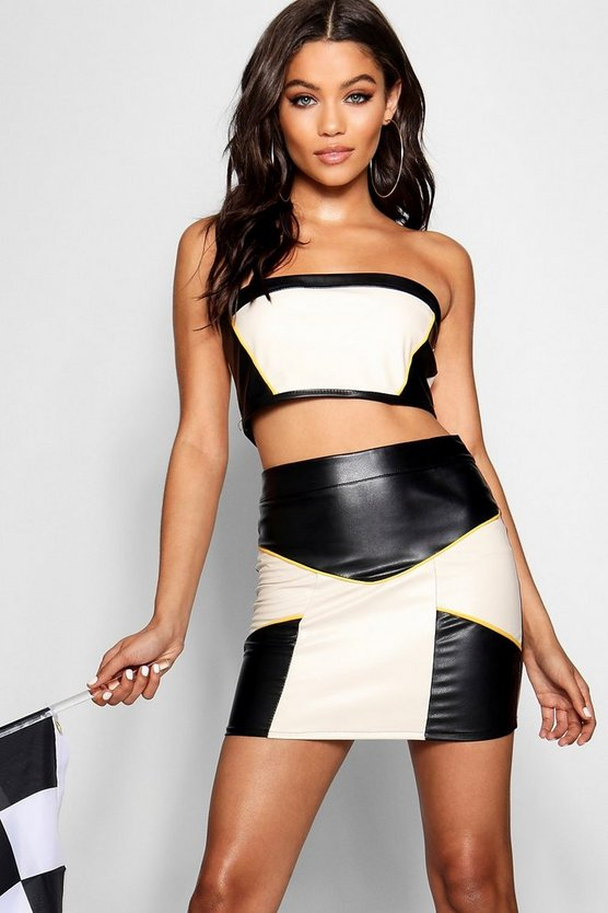 PU Contrast Panel Crop Top
