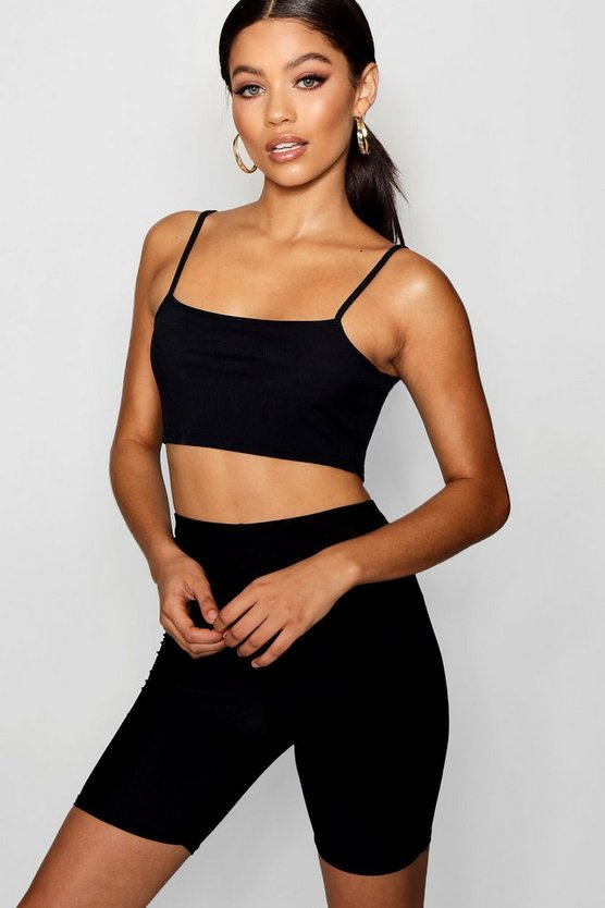 Rib Strappy Crop Top