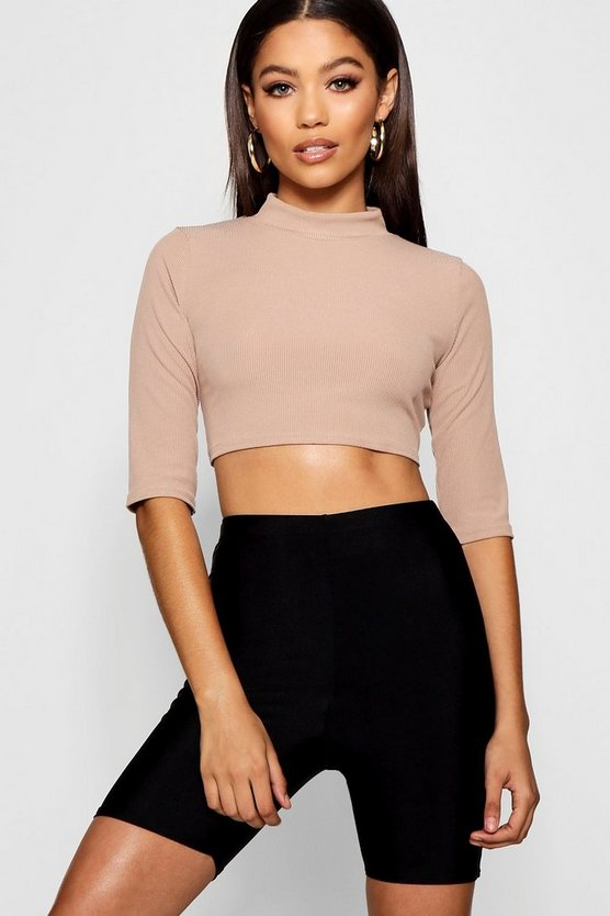 Rib 3/4 Sleeve High Neck Crop