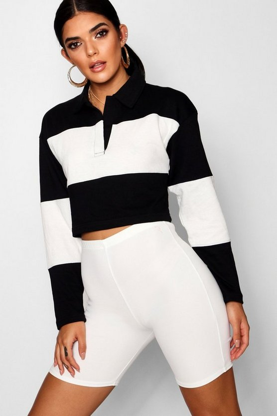 Colour Block Rugby Crop Top