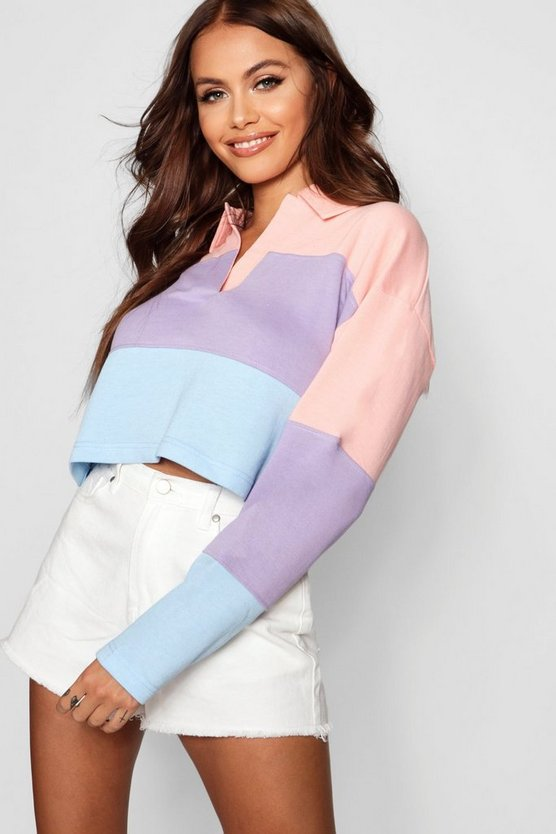 Lilac Colour Block Rugby Crop Top