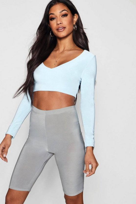 V Neck Slinky Crop, Dusty blue, Donna