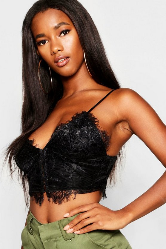 Womens Black Eyelash Lace Corset Bralet