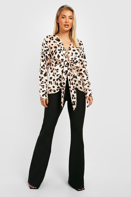 Top de atado leopardo con delante por natural drapeado satén FwHqrFzx