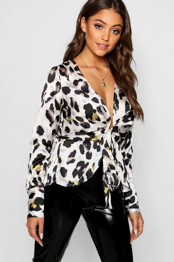 Womens White Leopard Satin Drape Tie Front Top