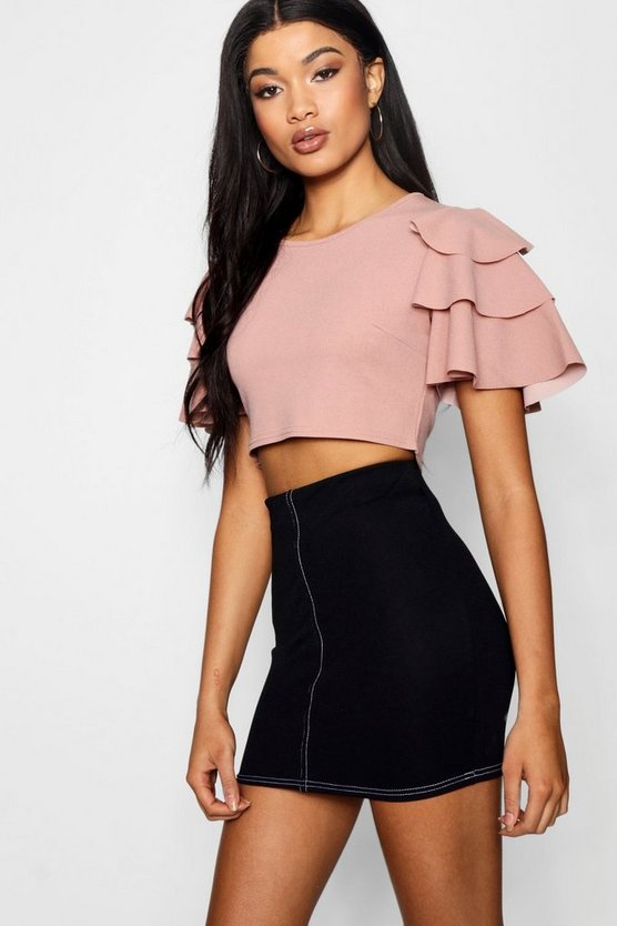 Ruffle Shoulder Scoop Neck Crop