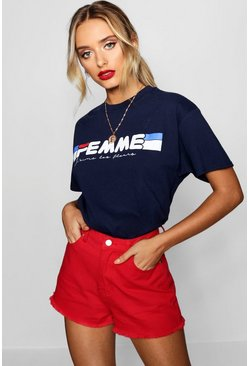 Womens Navy Fleur Sports Slogan Tee