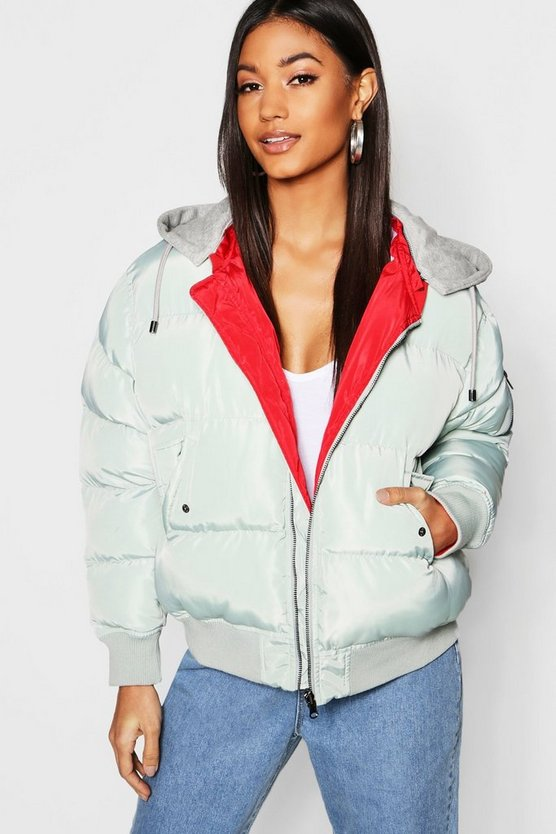 Reversible Hooded Bomber Jacket