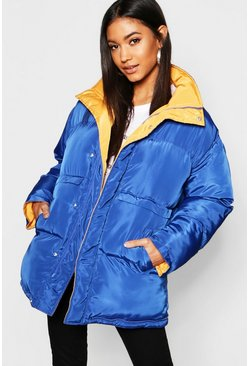 Womens Blue Funnel Neck Multiway Reversible Jacket
