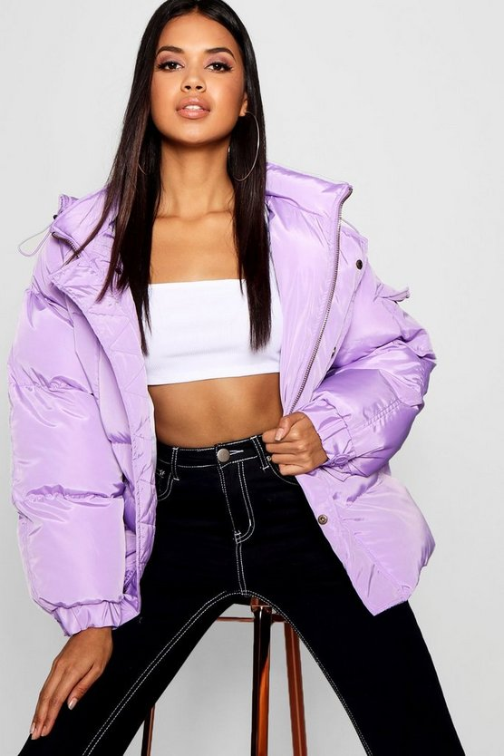 Womens Lilac Oversized Hooded Puffer Jacket