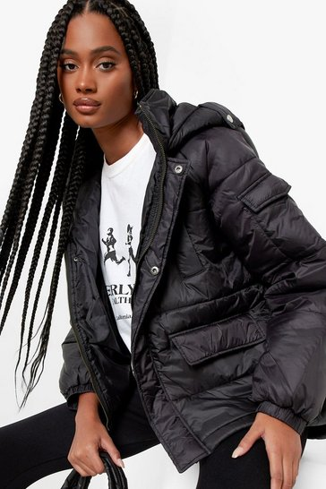 Womens Black Oversized Hooded Puffer Jacket