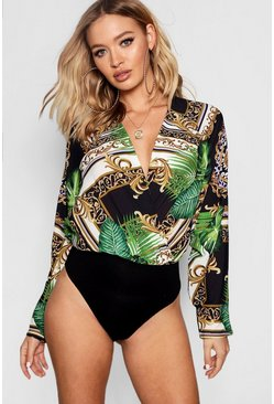 Womens Black Tropical Chain Print Woven Body