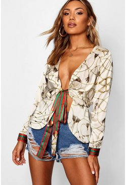 Womens Ivory Woven Scarf Print Wrap Blouse