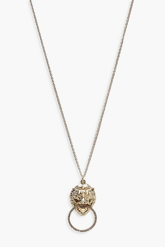 Lion Diamante Pendant Long Necklace