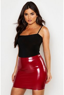 Berry High Waist Vinyl Mini Skirt