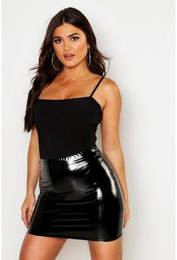 Womens Black High Waist Vinyl Mini Skirt