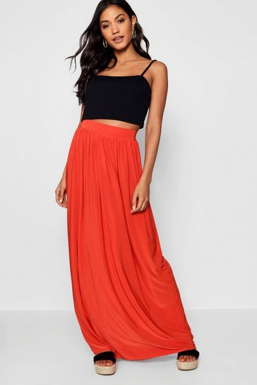 Womens Tropical orange Slinky Floor Sweeping Maxi Skirt