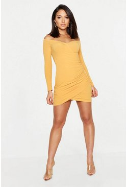 Womens Mustard Soft Knit Off The Shoulder Wrap Dress