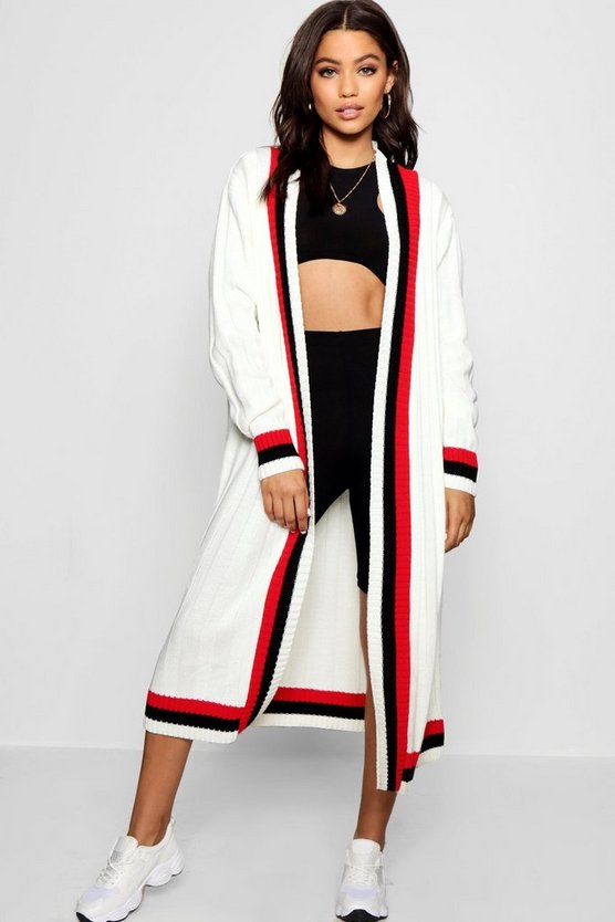 Womens Maxi Sport Tipping Oversized Cardigan