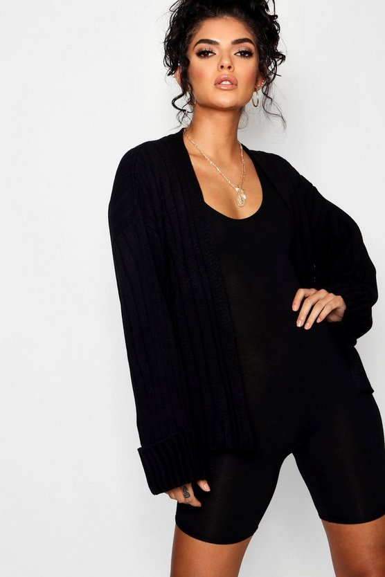 Oversized Wide Sleeve Rib Cardigan