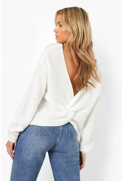 Cream Crop Twist Sweater