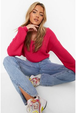 Hot pink Crop Twist Sweater