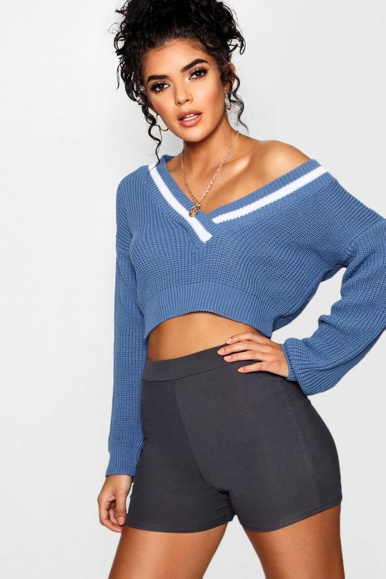 Poppy Plunge V Neck Stripe Trim Crop Jumper