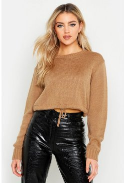 Camel Ruched Hem Soft Knit Sweater