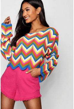 Womens Blue Zig Zag Crochet Crop