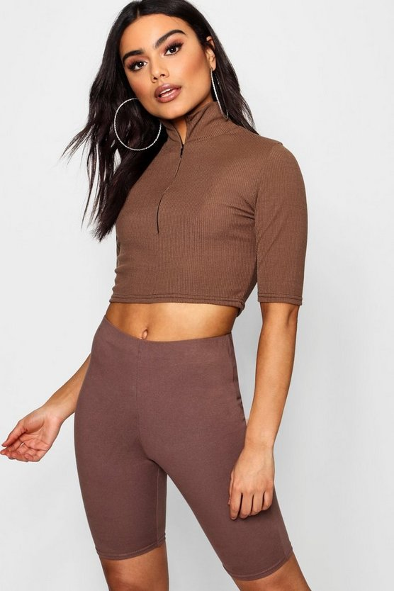 Funnel Neck Zip Up Rib Knit Crop