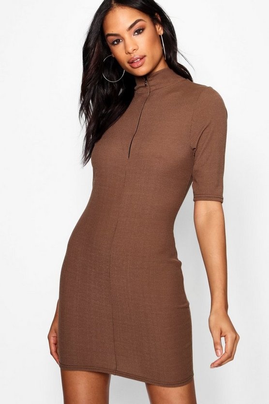 Funnel Neck Zip Up Rib Knit Dress