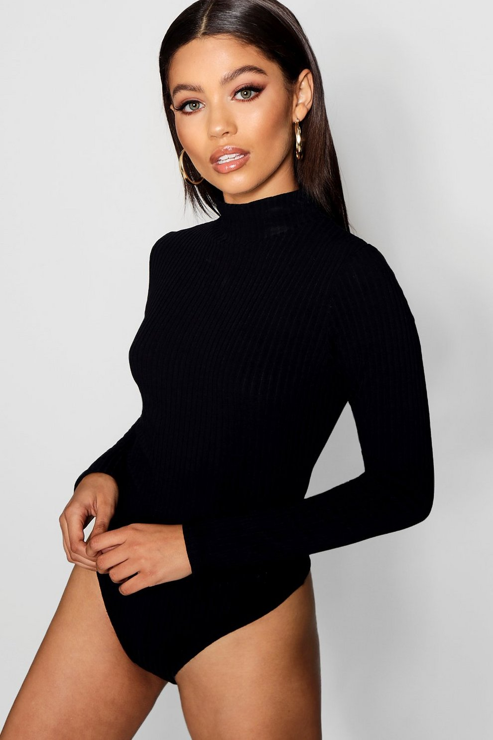 832ab4dcfb Turtle Neck Rib Long Sleeve Thong Bodysuit