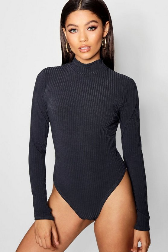 Womens Charcoal Turtle Neck Rib Long Sleeve Thong Bodysuit