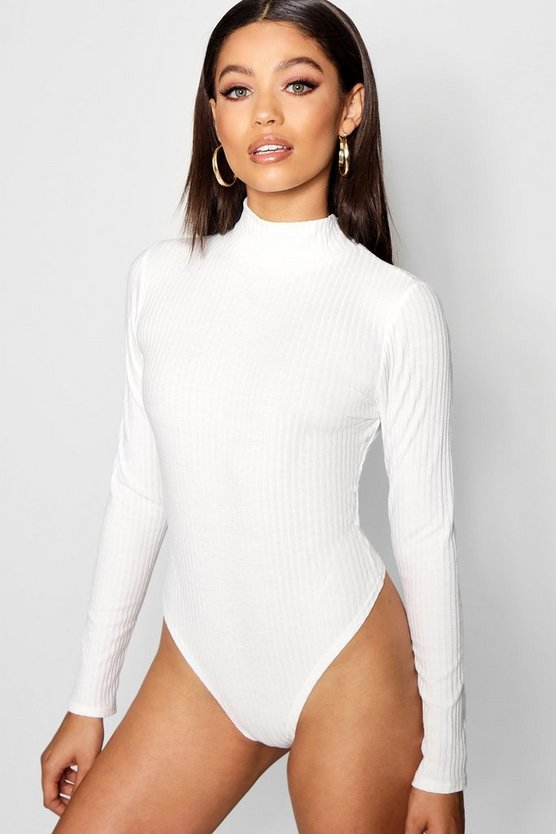 Turtle Neck Rib Long Sleeve Thong Bodysuit