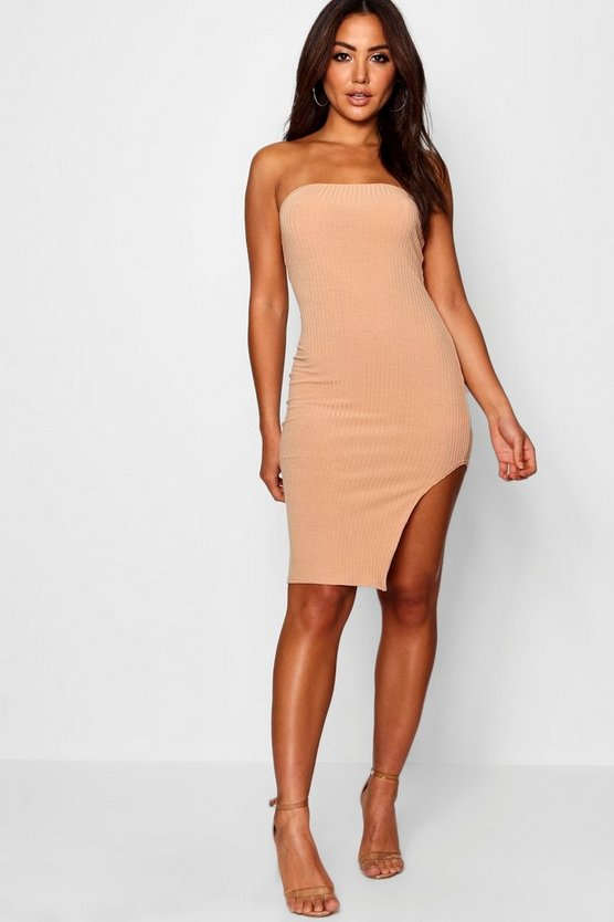 Bandeau Side Split Knitted Dress