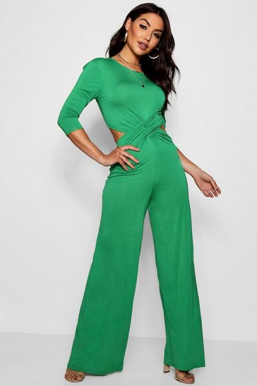 Womens Leaf green Twist Front 3/4 Sleeve Culotte Jumpsuit