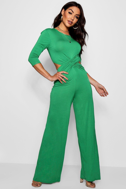 verde pantalón con largo falda manga delante con 4 Mono por hojas de 3 estilo nudo gqC71x1wn