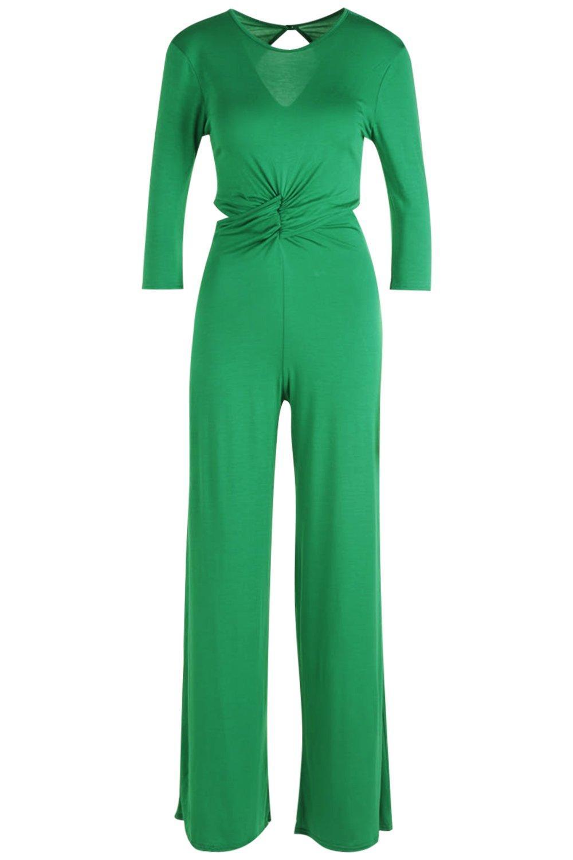 manga 4 largo Mono falda pantalón hojas delante por verde con 3 nudo estilo con de H0dqX