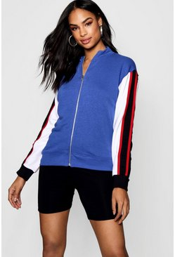 Womens Cobalt Zip Through Colour Block Jacket