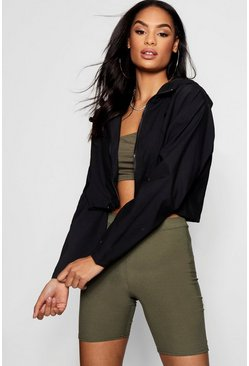 Womens Black Crop Windbreaker