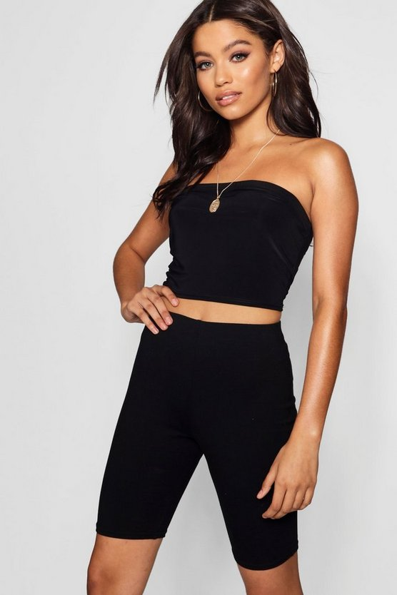 Black Basic Stretch Cycling Shorts