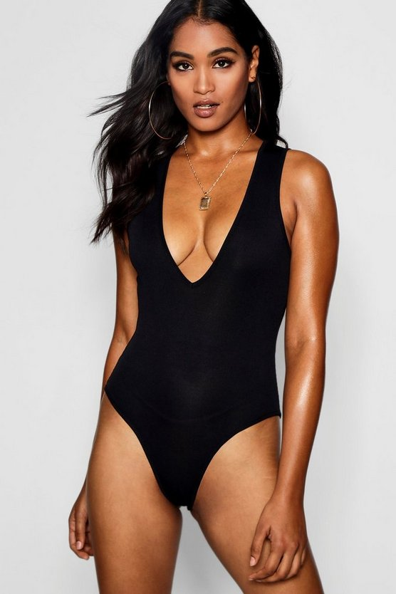 Ribbed Plunge Neck Bodysuit