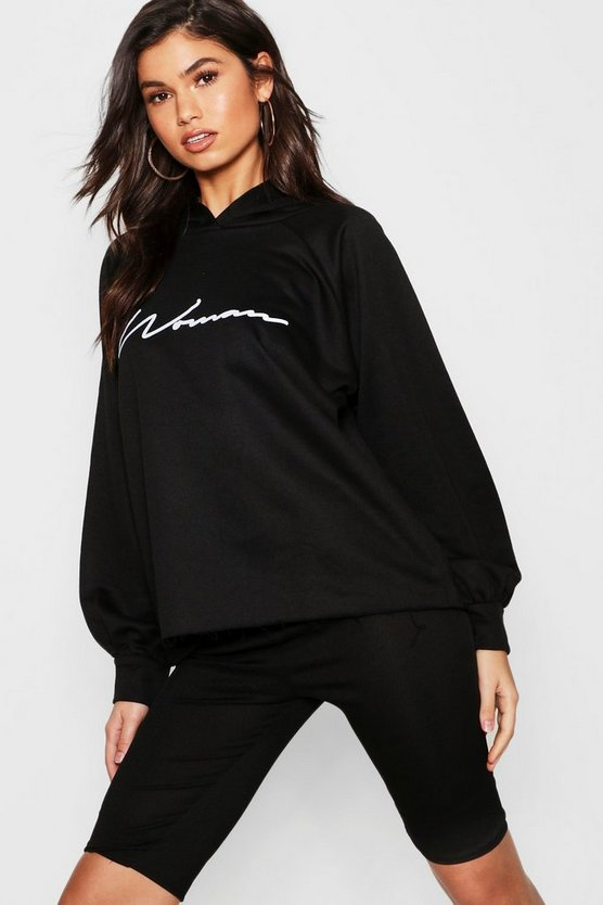 Womens Black Oversized Slogan Woman Sweat Hoody