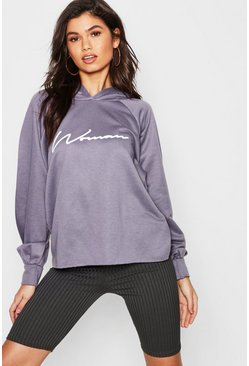 Womens Charcoal Oversized Slogan Woman Sweat Hoody