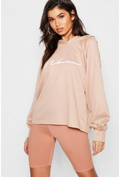 Womens Stone Oversized Slogan Woman Sweat Hoody
